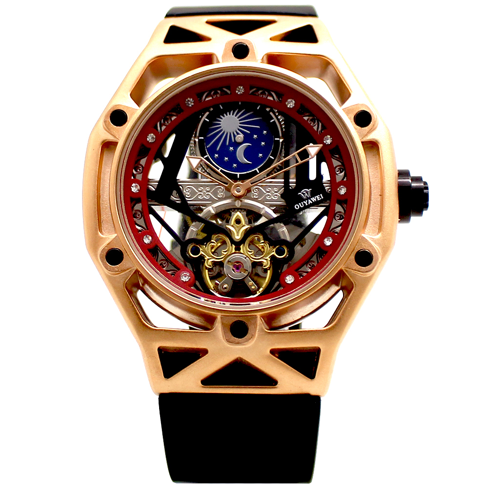 OUYAWEI Men Watch Mechanical Tourbillon Automatic Skeleton Watch Men Mechanical Moon Phase Self Wind Watches Relogio