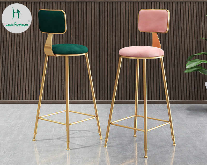 Louis Fashion Nordic Minimalist Golden Bar Chair Backrest High Stool Stool Front Dining Room Leisure