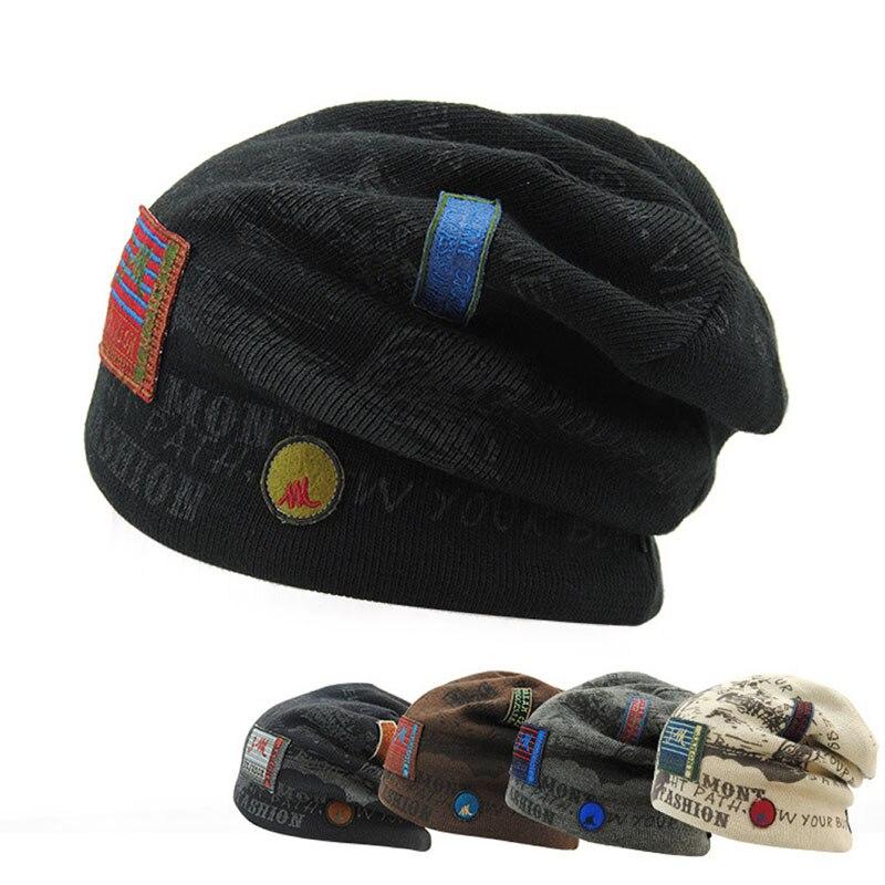 Women Winter Skull Men Knit Beanie Reversible Baggy Wool Cap Warm Unisex Hat men women crochet knit plicate baggy beanie wool blend hat skull winter warm cap y107