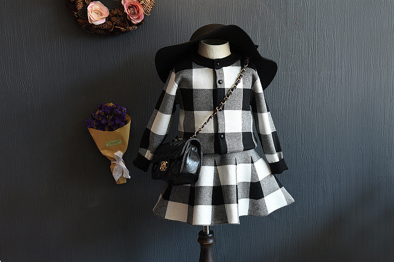 2017 New style spring&Autumn Girls Clothing Sets Houndstooth Knitted Suits Long Sleeve Plaid Jackets+Skits 2Pcs for Kids Suits hurave 2017 baby girls autumn kids clothing sets v neck knitted long sleeve sweater colorful dress children sets suits c9l4