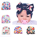 2016 Newborn Baby Muts Cute Hat Stripe Bow print Nursery Newborn Hat Cap with Big Bow headband For 0-6 Months newborn headband