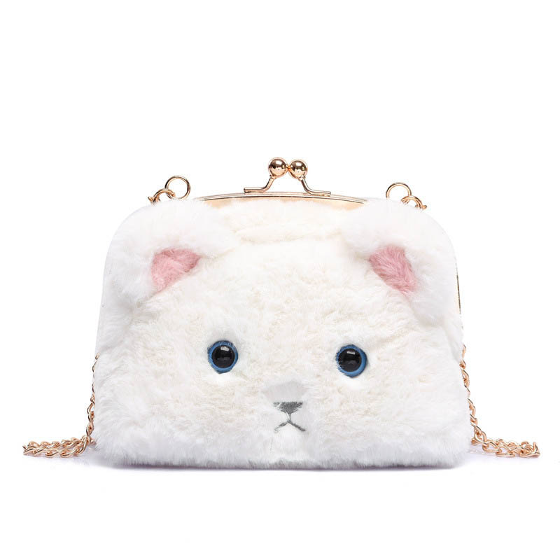 Famous Brand Fashion PU Leather Women Handbag Fur Cat Crossbody Bags For Women Shoulder Clutches Bag Frame Purses bolsas T520