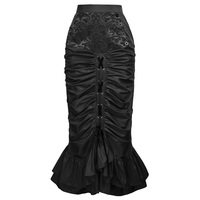 Women Vintage Victorian Skirts Black Dark Red Jacquard Taffeta Elastic Waist Hips Wrapped Gothic Steampunk Long Mermaid Skirt