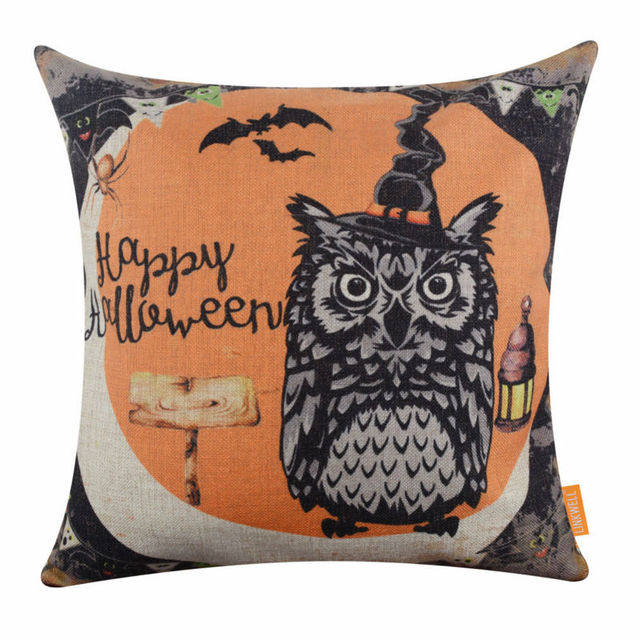 Linkwell 18x18 Inches Pillow Case Burlap Cushion Cover Retro Hy Decoration Orange Owl Spider Net