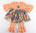 Newest Spring girls boutique clothing outfits girls ruffle pants set,Orange Striped Baby Clothes ,Ruffle Floral Girls Outfit