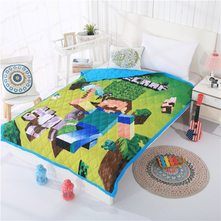 Cartoon Minecraft Moana Kid Baby Summer Quilt Quilted Air Condition Blanket Jacquard Comforter Bed Cover Bedding