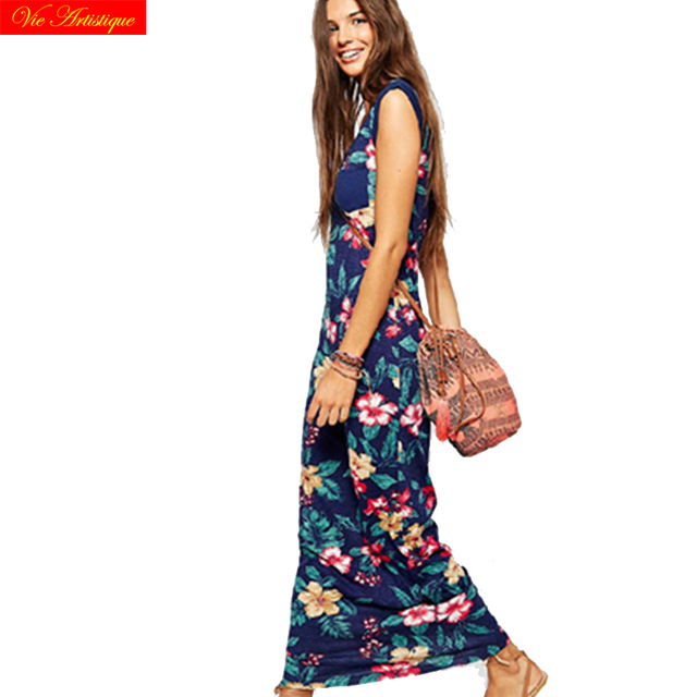 2018 summer bohemian style tropical plants stamp affixed cloth bag dresses slim fit female floral long dress dark navy