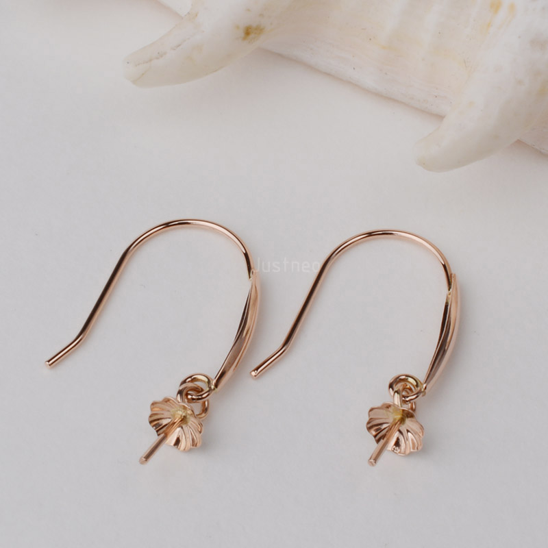 18K Gold Earring Hooks with Eyepin Bead Caps, Yellow White Rose Karat Gold Solid 18ct oro French Earwire Dangle Pearl Earrings yoursfs dangle earrings with long chain austria crystal jewelry gift 18k rose gold plated