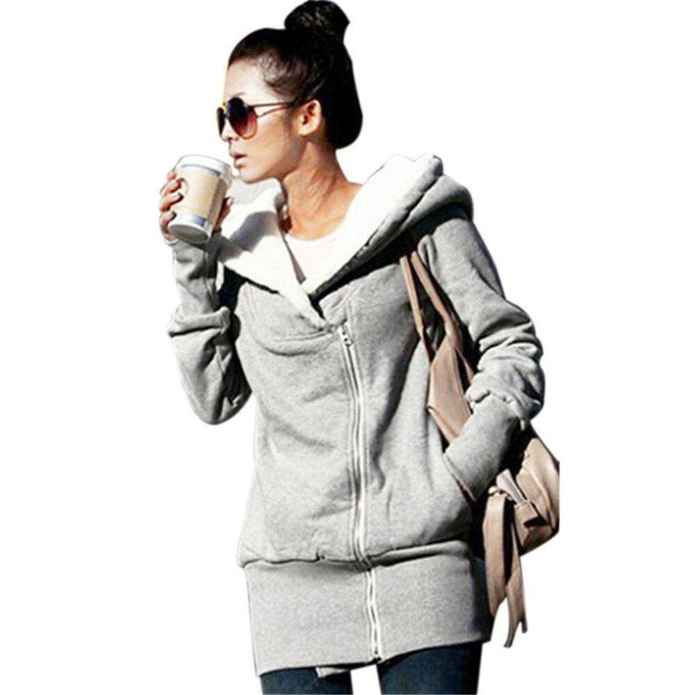 b946aac26d6 Womens Hoodies Overcoat Winter Autumn Fleece Coat Zip Up Outerwear Female  Hooded Sweatshirts Long Jacket Parka Plus Size