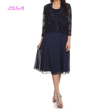Scoop Half Sleeves Chiffon Lace Sequins Mother of the Bride Dresses Knee Length Short Dress with Jacket