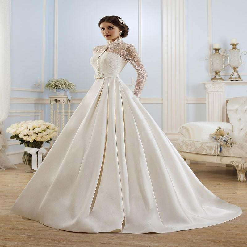 Elegant long sleeve wedding dress muslim dress 2015 simple for Simple long sleeve wedding dresses