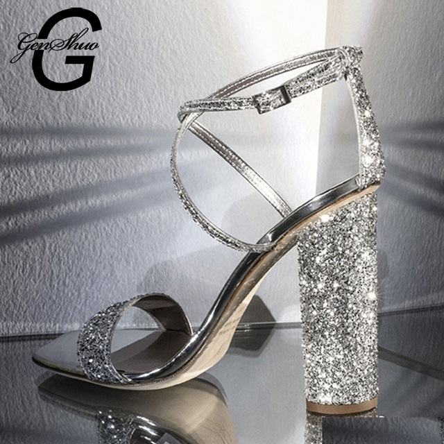 GENSHUO Luxury Crystal High Heels Sandals Sexy Bling Chunky Heel Women Sandals Elegant Party Wedding Shoes Women Ankle Strap