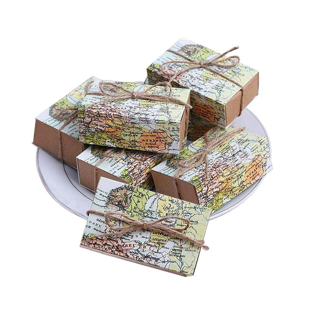 50 Pcs Around the World Map Favor Boxes Vintage Kraft Favor Box Candy Gift bag for Travel Theme Party Wedding Birthda image