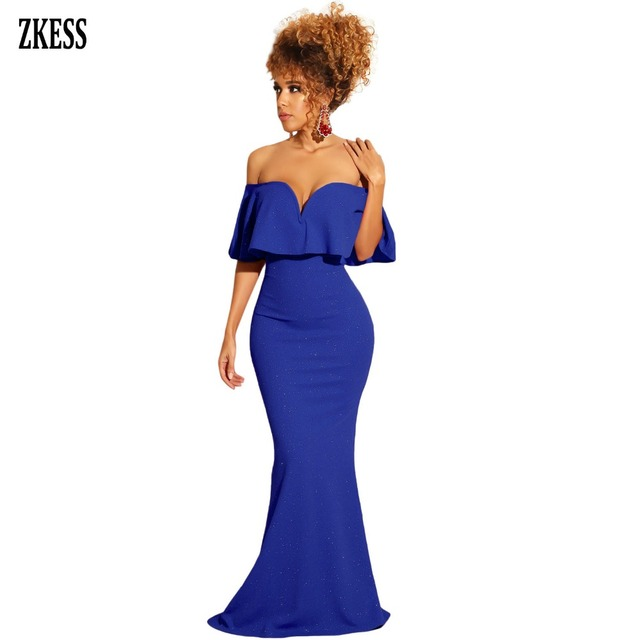 b539cacf271 ZKESS Women Royal Blue Ruffled Poncho Shiny Off Shoulder Party Gown Dress  Sexy Strapless Flared Sleeveless