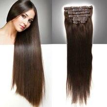 Clip In Human Hair Extensions 100% Brazilian Virgin Hair Clips Straight Natural Hair  20″22″ Tic Tac Cabelo Humano Ali Beauty