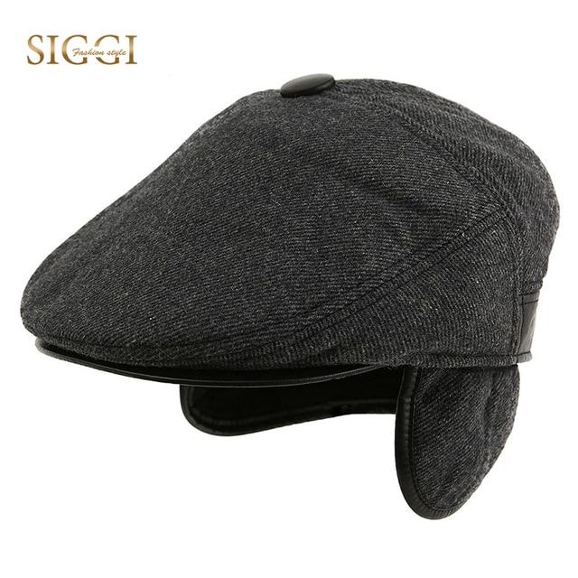 SIGGI Men Wool Flat Cap Newsboy Hat Gatsby Earflap Ivy Irish vintage Winter  Black Casquette 67173 09b3431a610