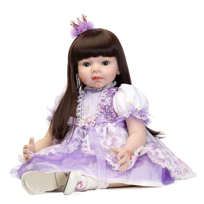 Large size 70cm Silicone reborn baby dolls lifelike princess girl Baby Reborn toddler dolls Toy Clothing
