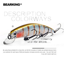 2018 Bearking Brand M109 Fishing Lures Minnow 11cm 17g quality Baits Deep Diving 1.5M Wobblers Fishing Tackles Free shipping(China)
