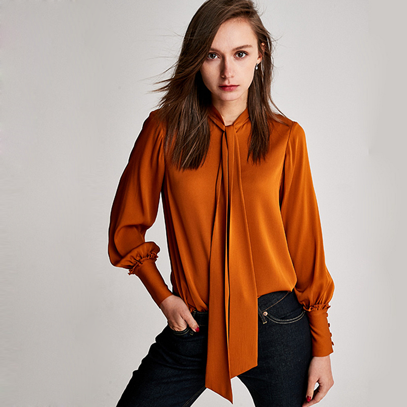 100% Silk Blouse Women Shirt Graceful Style Tie O Neck Long Sleeve 4 Colors Vintage Design Office Top New Fashion 2018