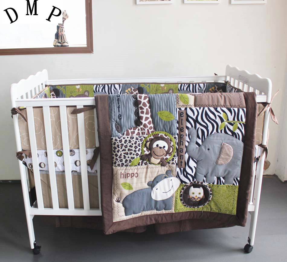 Promotion! 7PCS Embroidery Cotton Baby Crib Bedding Set Animal Baby Bedding Sets ,include(bumper+duvet+bed cover+bed skirt)