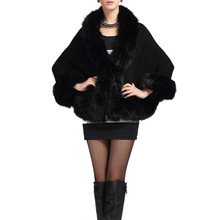 2016 Women Winter overcoat female outerwear faux fur Fake Fur Cloak Women Coat Europen style patchwork black white faux fur coat