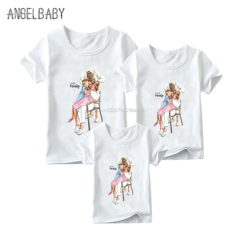 Matching Family Outfits Mom Daughter Dad Son Print Boys Girls Funny T-shirt Clothes Kids&Woman&Man Super Family Tshirt