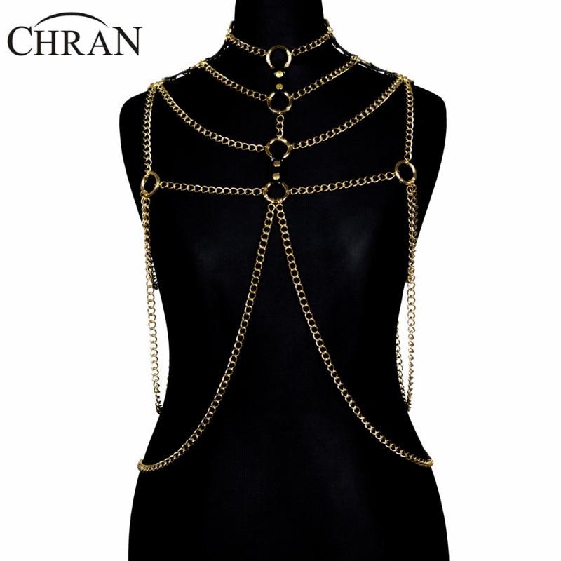 Chran 3 Color New Fashion Sexy Chain Bra Waist Belt Silver Gold Beach Chain Wear Jewelry Dress Gift For Women CRBJ01