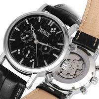 YISUYA Three Eyes Mechanical Watch Fashion Self Winding Leather Strap Skeleton Automatic Watches rejor