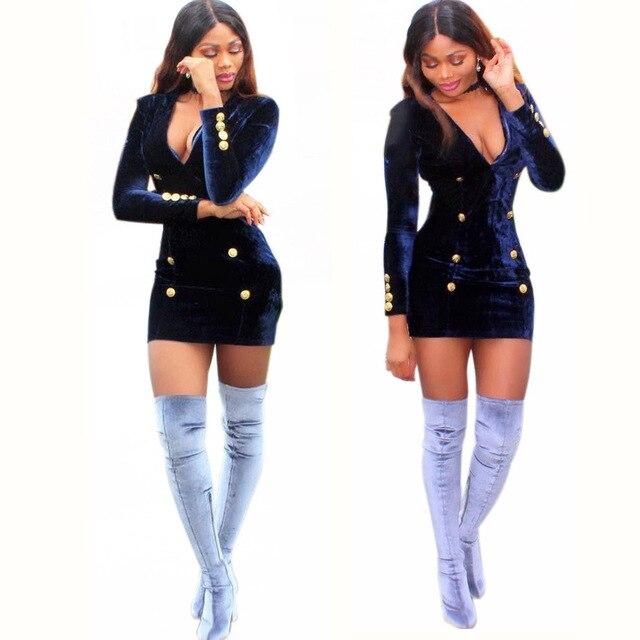 eda2d6e0f075 JRQIOT Women Sexy Mini Dress V-neck Long-sleeved Geometric Studded Velvet Blazer  Dress