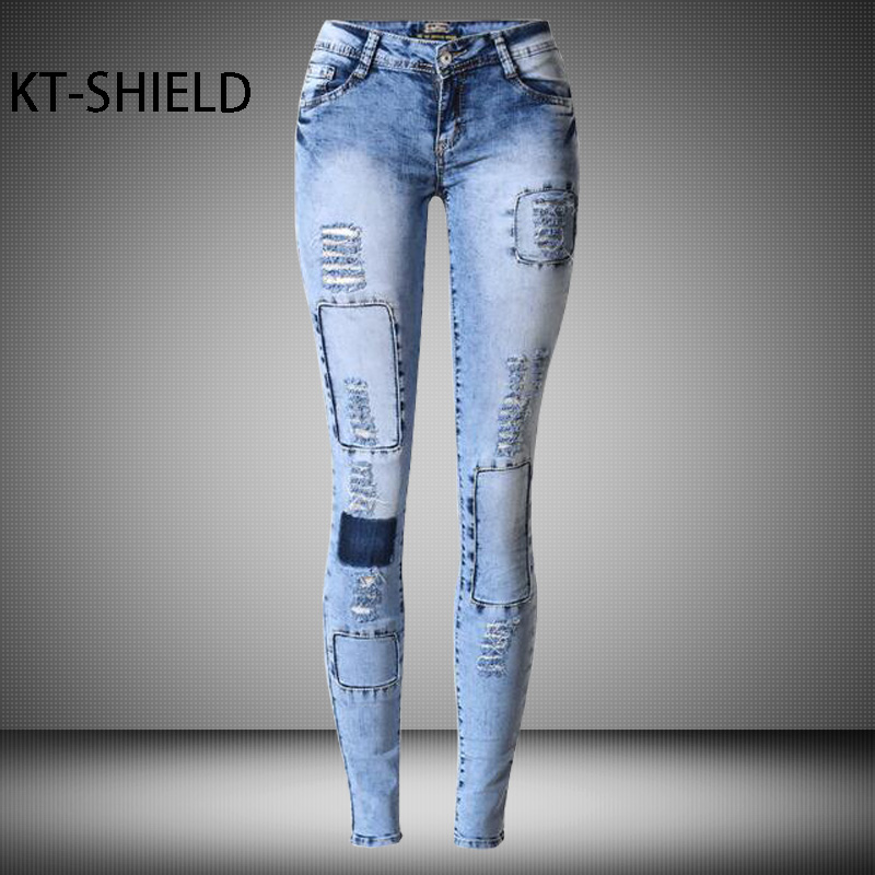 spring 2017 Fashion Boyfriend ripped Holes Jeans women skinny Elastic Pencil Pants Sexy Slim Light blue Casual Jeggings trousers new women fashion slim mid waisted casual holes skinny pencil jeans