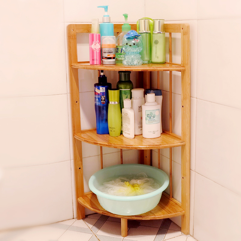 Bamboo bathroom floor corner shelf bathroom shelf washbasin home ...