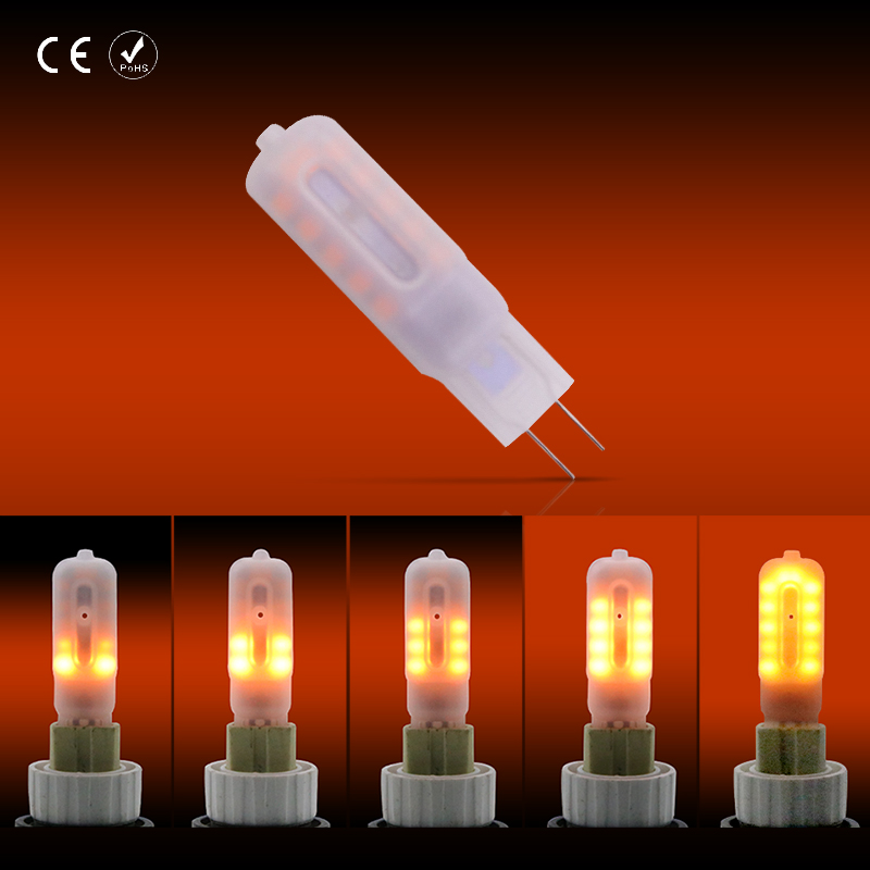 <font><b>Led</b></font> <font><b>Bulb</b></font> <font><b>G4</b></font> <font><b>LED</b></font> 12V DC Flame <font><b>Bulb</b></font> 2835 SMD Chip Lampada <font><b>Led</b></font> 12V G9 Diode Lamp Bombillas 24leds Flame Effect <font><b>Lights</b></font> Decoration image
