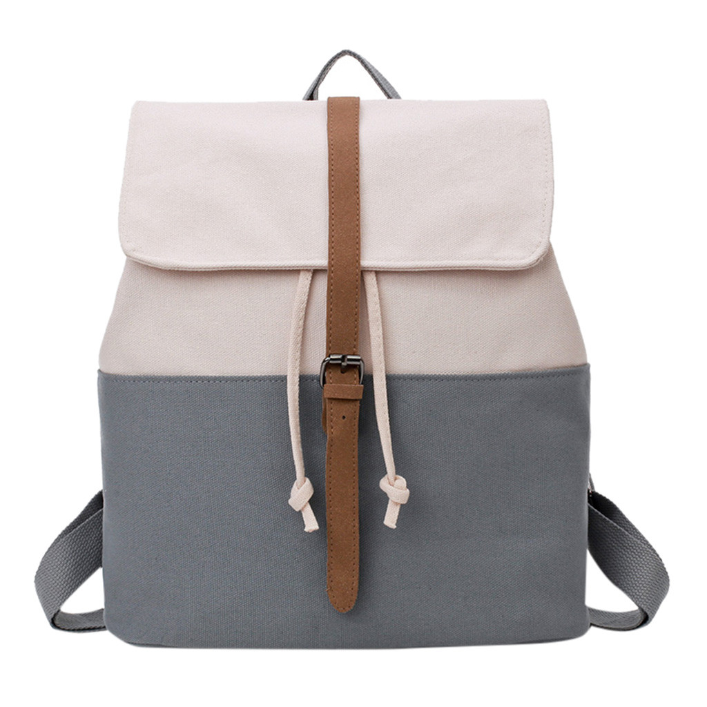 2019 New Fashion Fresh College Canvas Backpack Retro Sen Style Shoulders Solid Color Stitching Student Bag Travel Bag dropship(China)