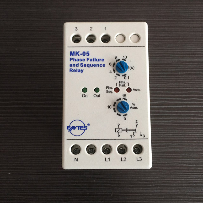 MK-05 Phase faliure and Phase Sequence Relay with din rail mounting MK-05 Phase failure phase sequence relay vj5 lcd display phase failure sequence unbalance protective relay 3 phase and voltage relay