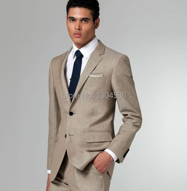 Free Shipping Custom Made Men S Suits Two Ons Jacket Pant Cream Wedding Groom