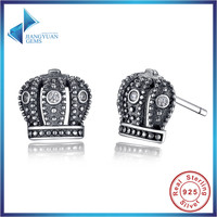 Fashion GIFT 925 Sterling Silver Royal Crown Stud Earrings Clear CZ With Clear CZ Compatible With