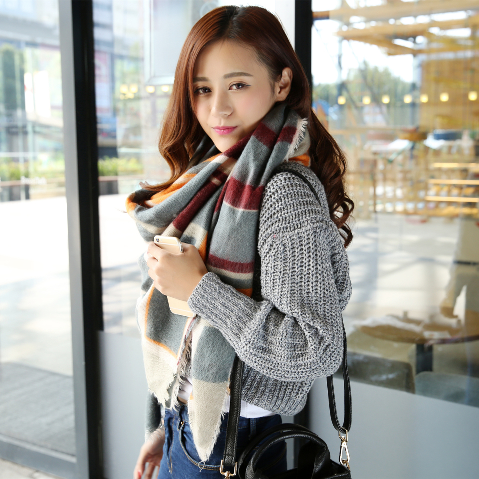 2015 New fashion font b tartan b font plaid cashmere scarf for women blanket scarf with