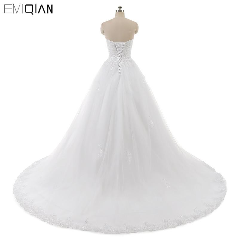 Real Photo Sleevess Vintage Blond Bröllopsklänningar 2018 En Line - Bröllopsklänningar - Foto 3