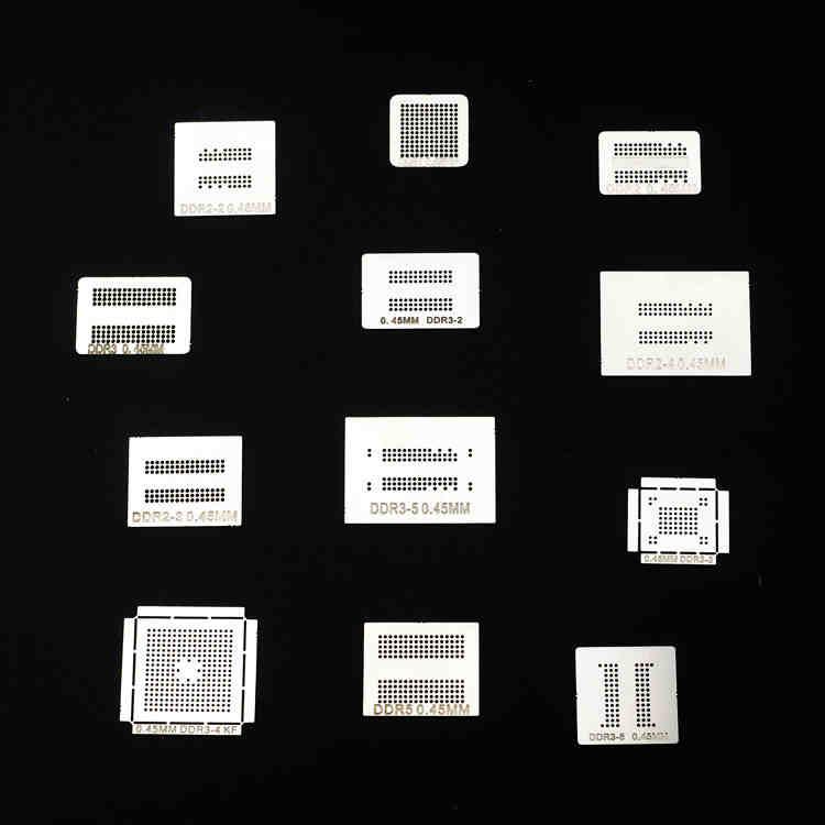 High Quality 12pcs/lot ! High Quality Full Set BGA Reballing Stencil Dedicate Kit For DDR DDR2 DDR3 DDR5