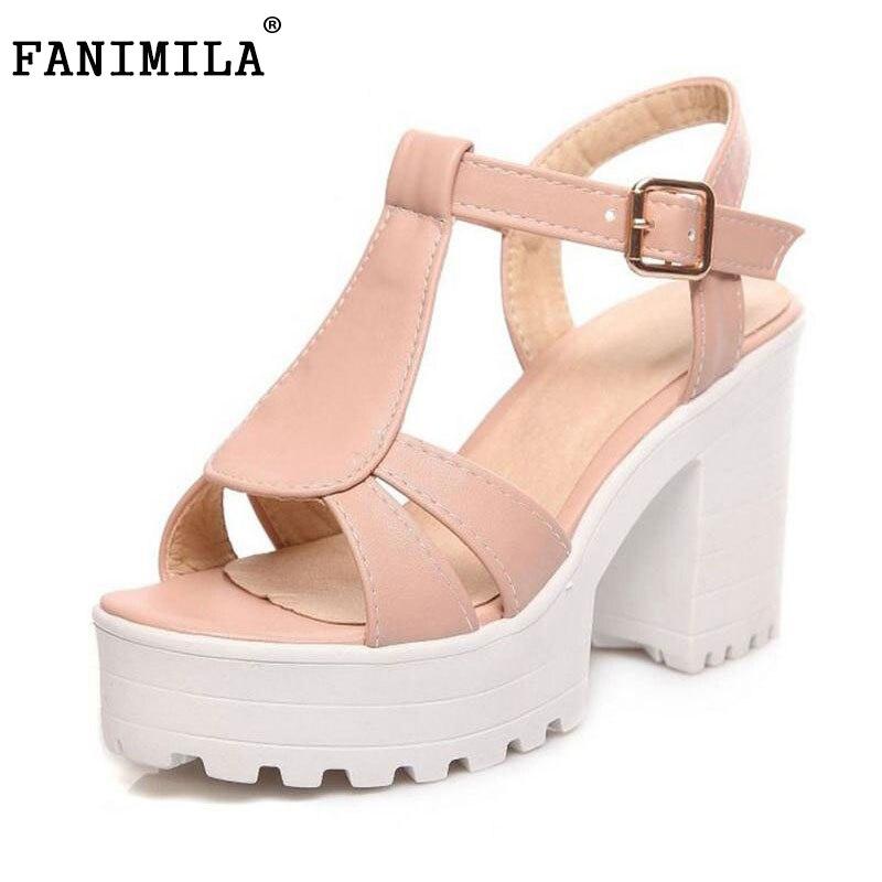women gladiator sandals vintage design ankle straps open toe summer shoes thick high heels platform sandals size 34-46 PE00031