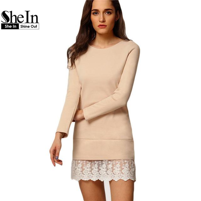 Shein mujeres de la manera mini vestidos de las señoras elegantes de manga larga de cuello redondo de encaje bordado contraste volante shift dress