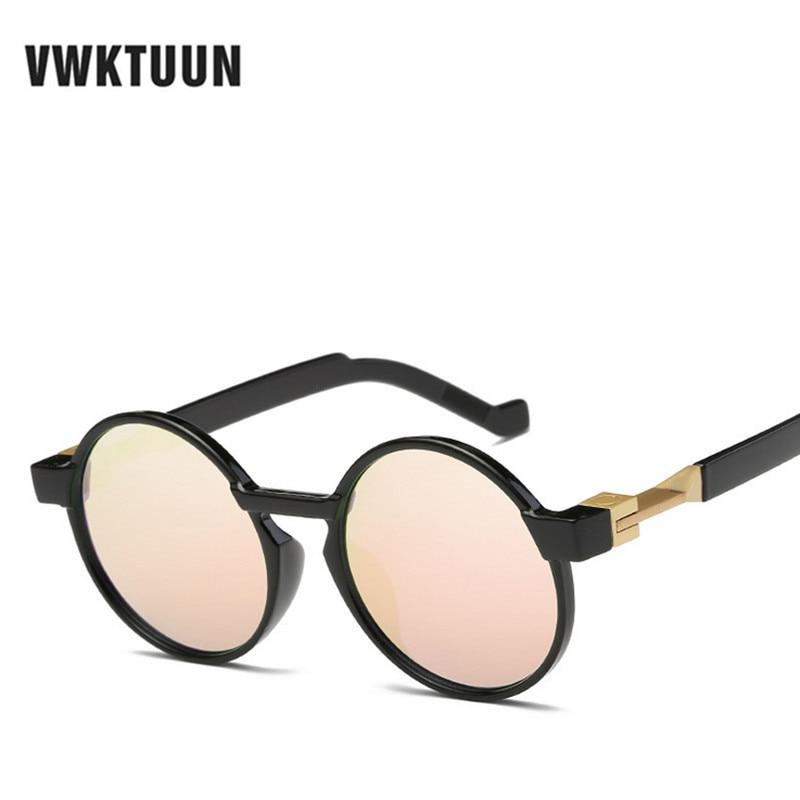 VWKTUUN Steampunk sluneční brýle Ženy kulaté luxusní značky Dámské sluneční brýle pro ženy Muži Růžové zrcadlové odstíny Oculos Feminino