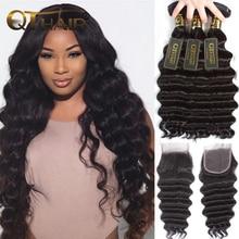 hot deal buy loose deep wave bundles with closure human hair bundles with closure brazilian virgin hair weave bundles with closure qt hair