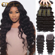 Loose Deep Wave Bundles With Closure Human Hair Bundles With Closure Brazilian Virgin Hair Weave Bundles With Closure QT Hair(China)