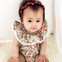 Baby&Kids Printed flowers Cotton Sleeveless Baby Jumpsuit Newborn Baby Girls Lace Floral Bodysuit Jumpsuit Summer 19