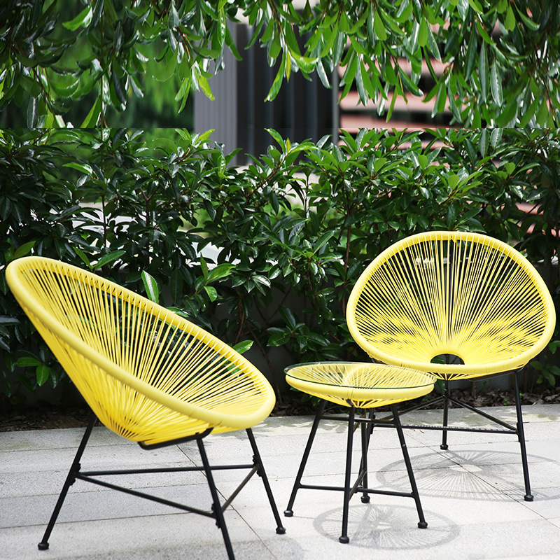3 In 1 Balcony Cafe Table Chairs Set Creative Breathable Moon Chair Heavy Loading Plastic Wire Steel Patio Furniture Set Aliexpress