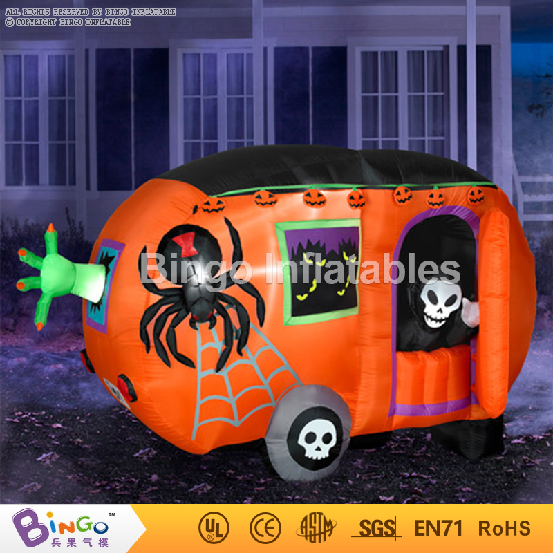 led lighting inflatable halloween pumpkin car with spider 3M long for halloween party decoration Bingo inflatablesBG-A1146 toy plastic standing human skeleton life size for horror hunted house halloween decoration