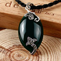 Vntage 925-sterling-silver inlaid black green agate jade stone charms pendants jewelry flower figure clavicle chain for women