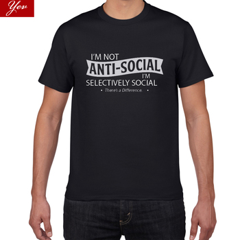 I am not anti-social summer T Shirts Men 100% cotton Hip Hop Man Tops Tees  high quality street wear tshirt men Casual T-shirt - sale item Tops & Tees