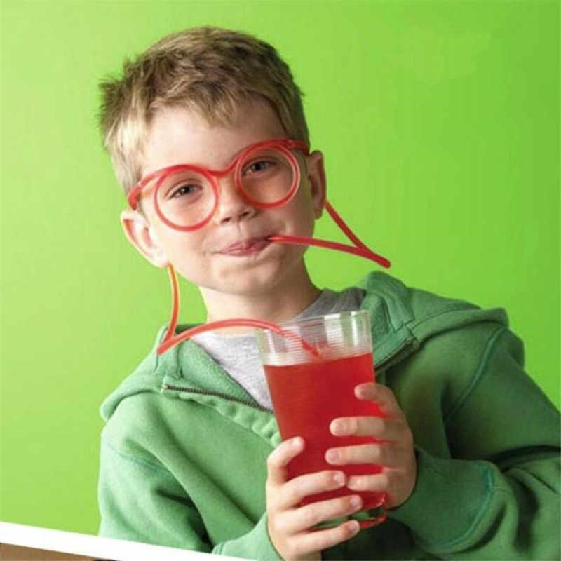 เด็กของเล่นวันเกิดสนุกนุ่มพลาสติกแว่นตาตลกยืดหยุ่นดื่มของเล่น Party Joke เครื่องมือหลอดเด็กของเล่น